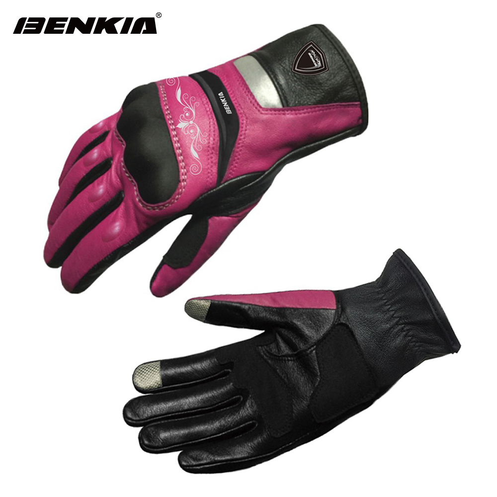 BENKIA Touch Screen Motorbike Motocross Gloves Leather Racing Gloves Women`s  Motorcycle Racing Gloves Full Finger Guantes Moto dollar price women cute cat small wallet zipper wallet brand designed pu leather women coin purse female wallet card holder