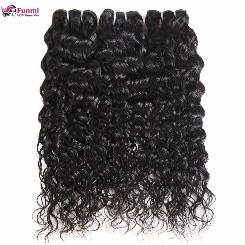 Funmi Peruvian Water Wave Virgin Hair Bundles 100% Unprocessed Human Virgin Hair Weave 1/3/4 Bundles Double Machine Hair Weft