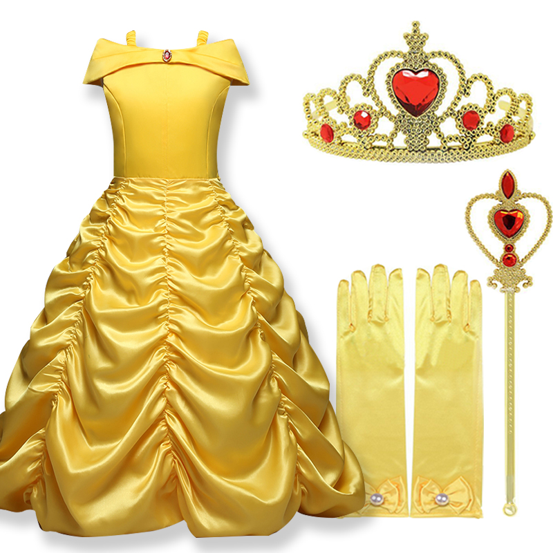 2018 Cosplay Belle Princess Costume Ladies Clothes For Magnificence And The Beast Children Get together Clothes Magic Stick Crown Youngsters Costume