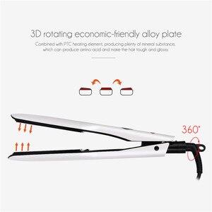 Image 3 - 3D obrotowa prostownica do włosów profesjonalna prostownica do włosów PTC prostownica do szybkiego ogrzewania z szeroką płytą grzewczą i ekranem LCD 0
