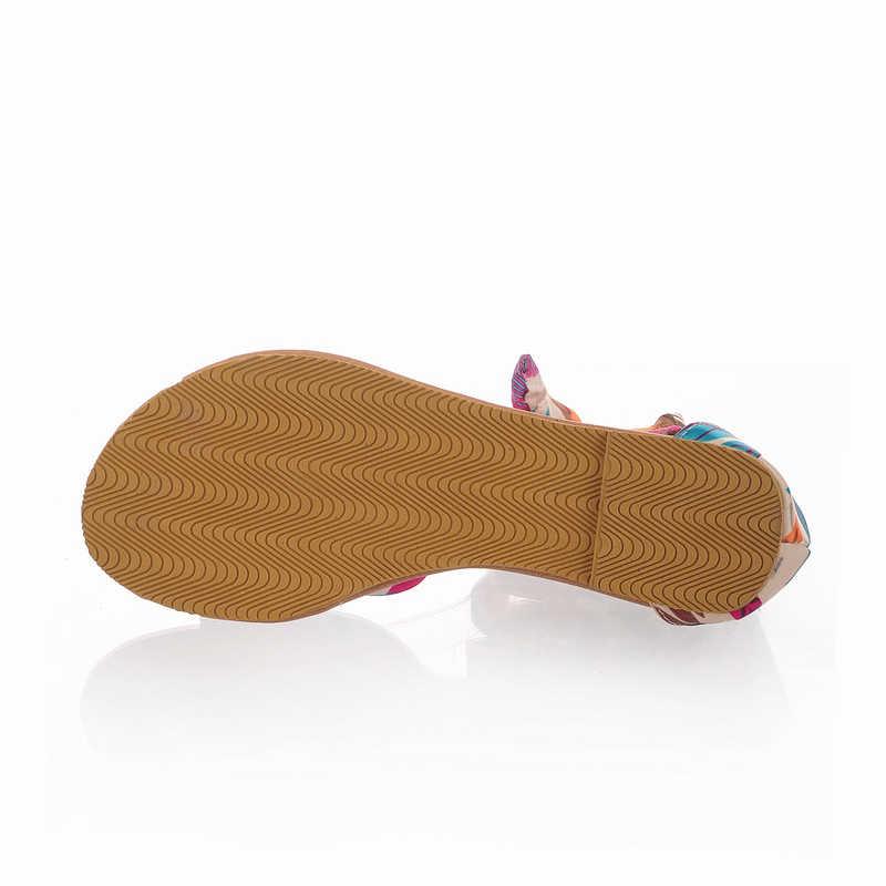 Phụ nữ dép Mùa Hè Mới phong cách Bohemian giày dép phẳng Phụ Nữ Thoải Mái dép giản dị Cộng Với Kích Thước 34-43