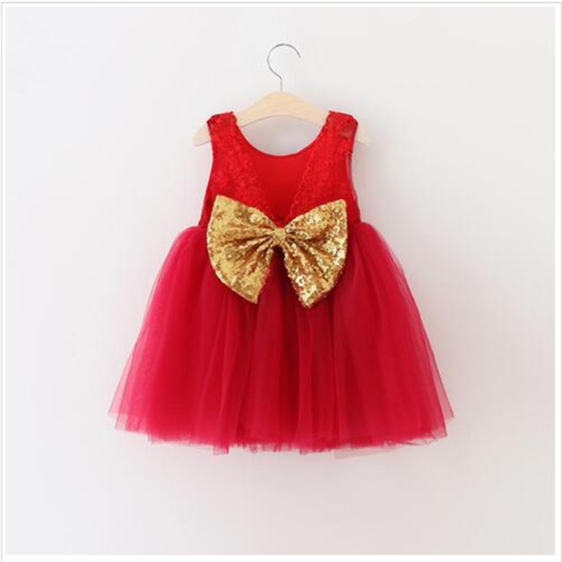 Christmas Kids Girls Tulle Lace Dresses Baby girl Princess tutu Party Dress 2016 Babies Autumn Sequined Bow dress bebe clothing