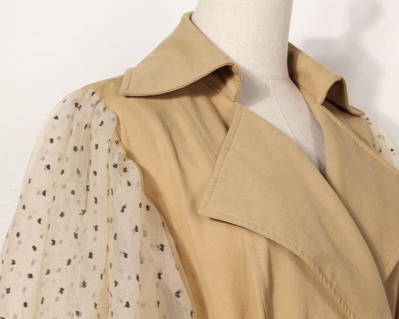 [EAM] 19 New Spring Lapel Long Puff Sleeve Sashes Dot Mesh Stitching Loose Long Windbreaker Women Coat Fashion JH394 7