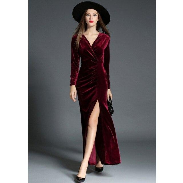 e38dd9af3 Zmvkgsoa Vestido XL Jesień Zima Kobiety Sukienki Aksamitne Z Długim Rękawem  V-Neck Sexy Ruched
