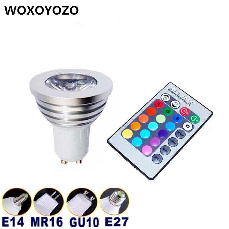Free shipping 1pcs Energy Saving 6w GU10 E27 E14 B22 AC 85-265V <font><b>MR16</b></font> <font><b>12V</b></font> RGB <font><b>LED</b></font> Bulb Lamp light Color changing IR Remote