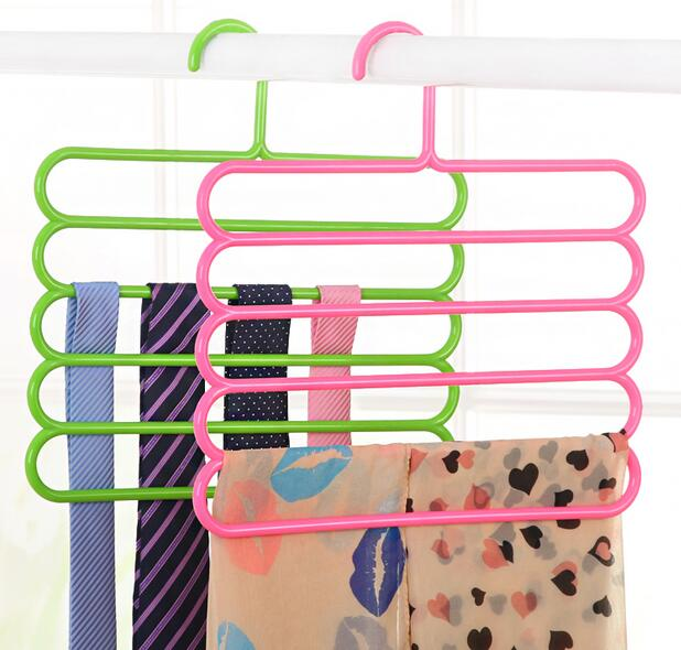 3pcs/set Multifunction  5 Layers Pants Hanger multilayer Trousers Tie Rack Space Saving wardrobe Plastic Cloth Clothes Peg