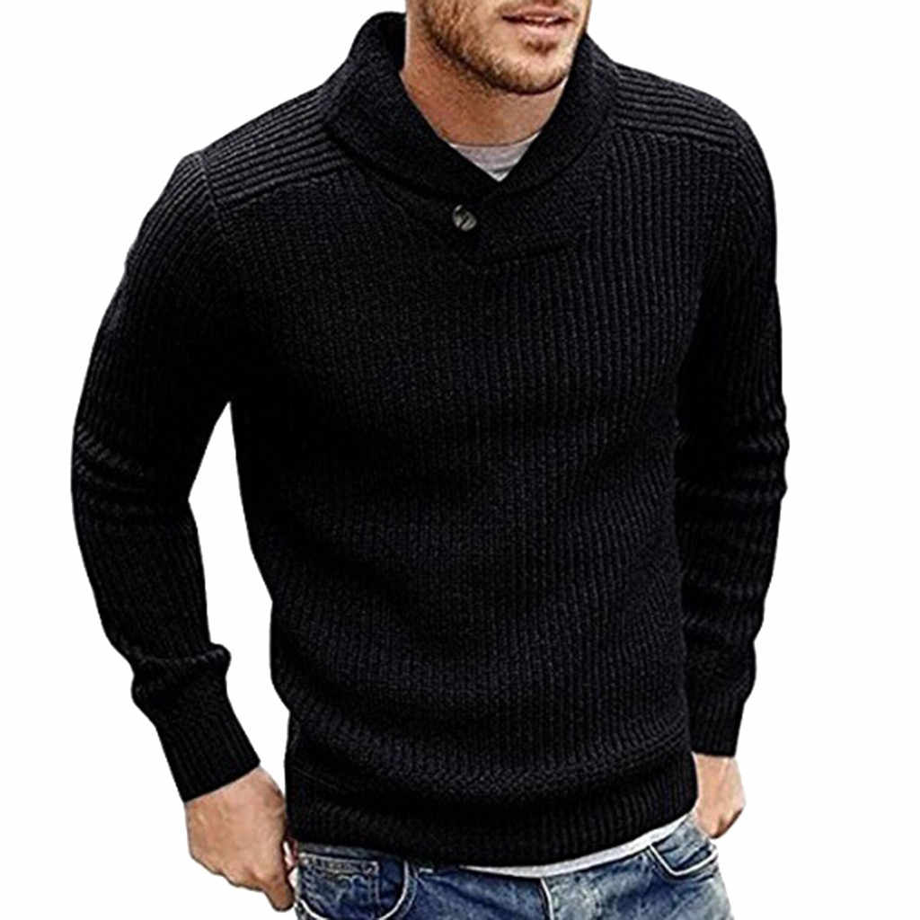 Womail Men Winter Long Sleeve Solid Knitted Sweater Pullover Tops Fashion super fire solid color male Blouse  M301206