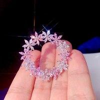 ASNORA Fashion Flower powder comes for women perfect rhinestone crystal hijab pin and brooch