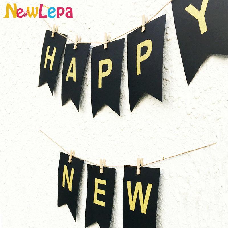 DIY Feliz Año Nuevo Garland Photo Booth Banner String Flag - Para fiestas y celebraciones - foto 4