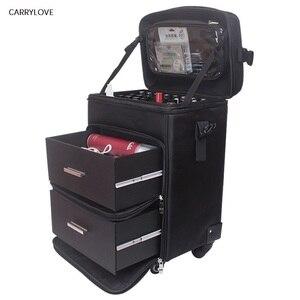 Переносная косметическая сумка на колесах, дамские ногти, набор инструментов для макияжа, чемоданчик для салонов красоты и тату