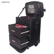 كاريلوف عربة حقيبة مستحضرات التجميل المتداول حقيبة الأمتعة على عجلات ، السيدات الأظافر ماكياج صندوق أدوات ، الجمال الوشم صالونات عربة حقيبة
