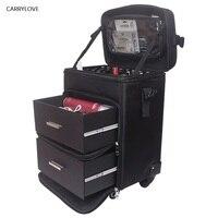 CARRYLOVE чемодан на колесиках для косметики чемодан на колесиках на колесах, дамские Ногти Макияж Toolbox, красивая Татуировка салонах тележка чем...