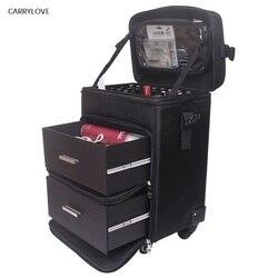 CARRYLOVE Trolley Cosmetische geval Rollende Bagage tas op wielen, dames Nails Make Toolbox, Beauty Tattoo Salons Trolley Koffer