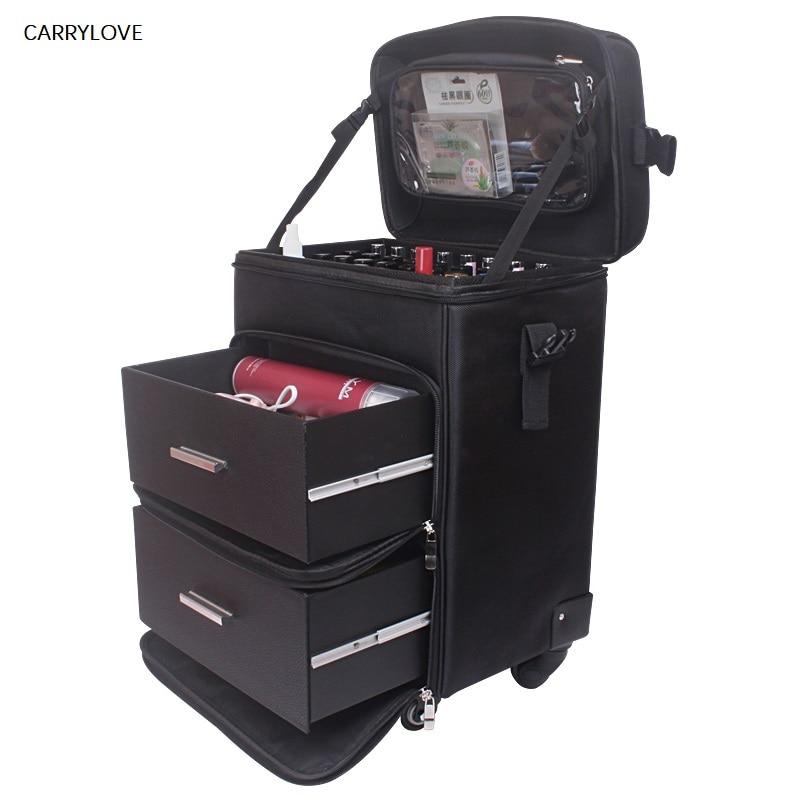 CARRYLOVE valise cosmétique sac à bagages roulant sur roues, boîte à outils de maquillage de dames ongles, valise de chariot de Salons de tatouage de beauté