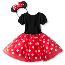 Baby Girls Minnie Mickey Princess Dress Kids Christmas Cartoon Mouse Clothes Headband Children Carnival Birthday Party Costumes(China)