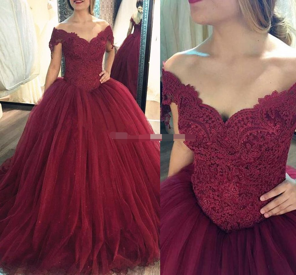 Red Lace Sweetheart Ball Gown Quinceanera Dresses Long Prom Gown Off the Shoulder Backless Quinceaneras Dress 15 anos 16 dress in Quinceanera Dresses from Weddings Events