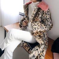 iSHINE Autumn Winter European American Style Ladies Luxury Pink Fur Collar Stitching Leopard Faux Fur Long Overcoat Female