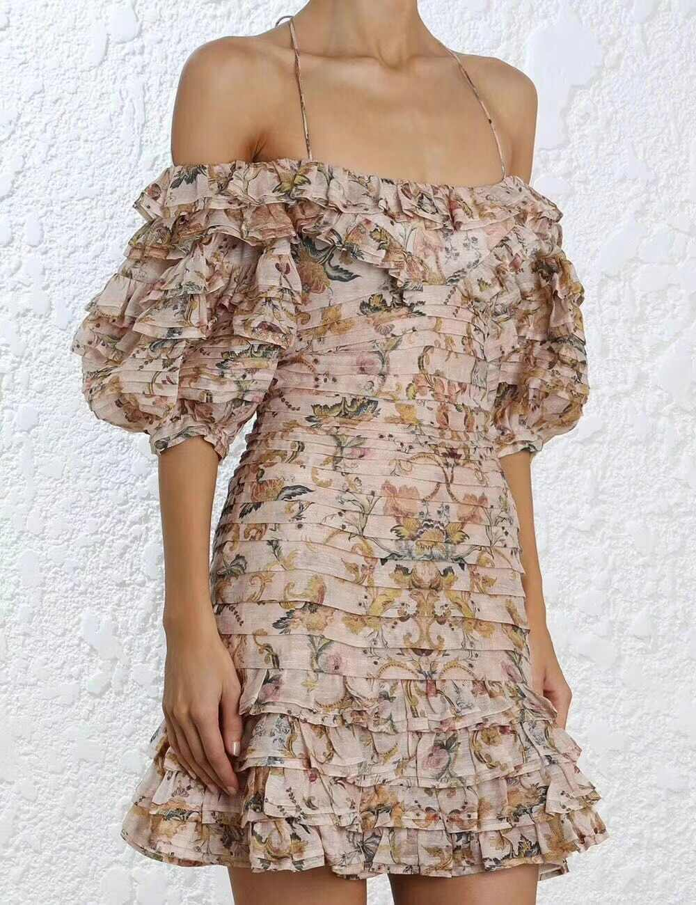 758a3a1a89207 Women Painted Heart Folds Ruffle Dress Halter Tie Multicolor Peach Tapestry  Off Shoulder Mini Dress