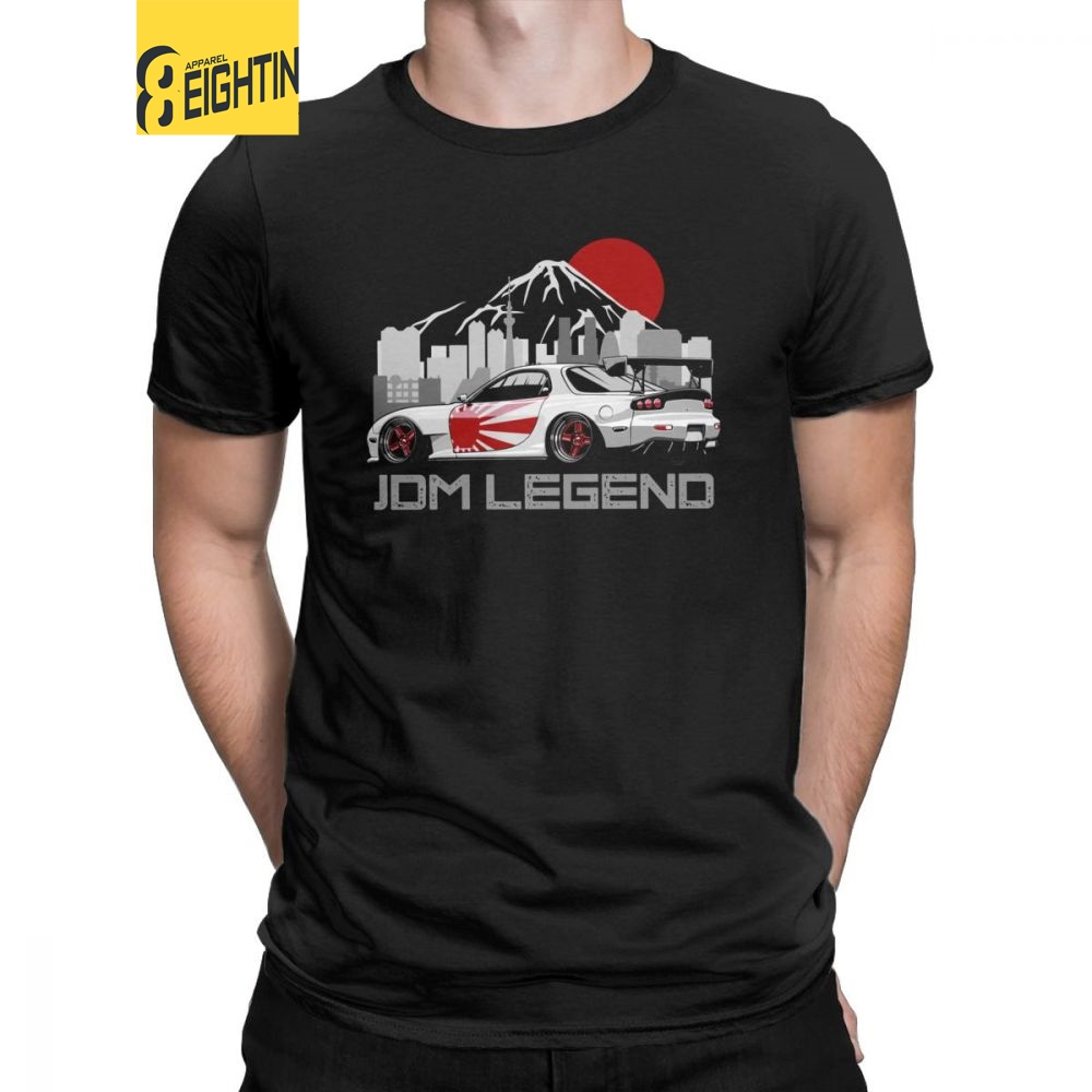 Man's RX7 JDM T Shirts Japanese Cars Sportcar Engine T-Shirts Unique Round Neck Short Sleeves Tops Purified Cotton Tee Shirt