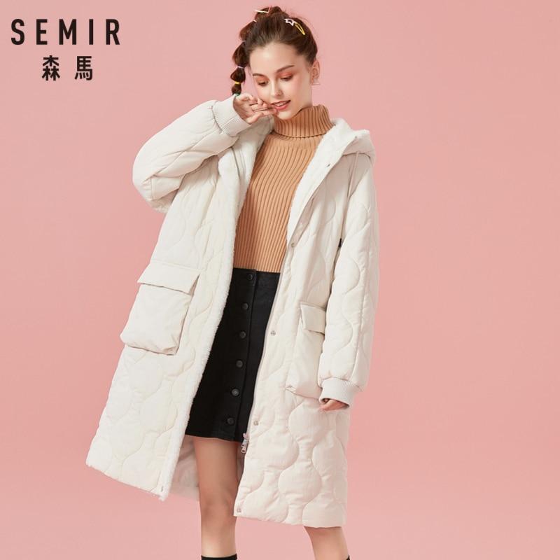 SEMIR ผู้หญิงขนแกะ เรียงราย Quilted Padded Coat Hooded Coat เปิดซิปและ Snap ปิด Ribbed cuffs-ใน เสื้อกันลม จาก เสื้อผ้าสตรี บน   1