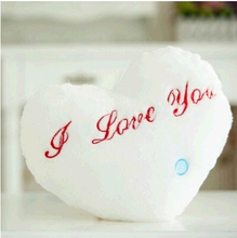 Comfortable and Cute Flashing with Large Container Batteries Heart Shape Stuffed Cushions Children stuffed toys