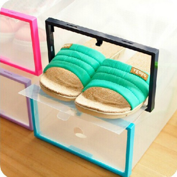 Brand New Nice Colorful Plastic Shoe Box Transparent Crystal Storage Shoebox  5 Colors For Household Home