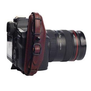 Image 4 - جلد طبيعي حزام اليد حزام DSLR كاميرا قبضة المعصم اليد حزام مع لوحة الإفراج السريع لكانون نيكون بنتاكس سوني.
