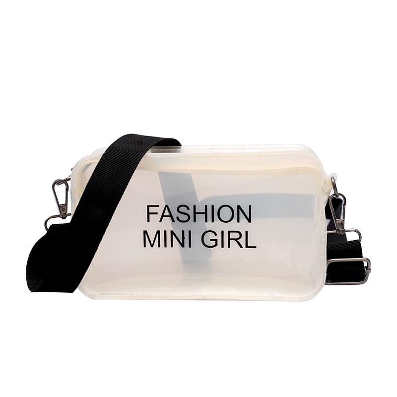 HCH-Women Small Bag Jelly Transparent Square Shoulder Bag Female Mini Crossbody Bag