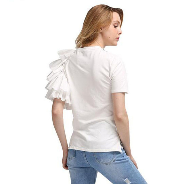 TWOTWINSTYLE Ruffles Print T Shirt Female O Neck Short Sleeve Patchwork T Shirts 2018 Summer Womens Casual Big Size Clothing 3