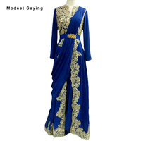 Elegant Navy Blue and Gold A Line Sequins Long Sleeve Lace Muslim Evening Dresses 2018 Long Party Prom Gown robe de soiree BE147