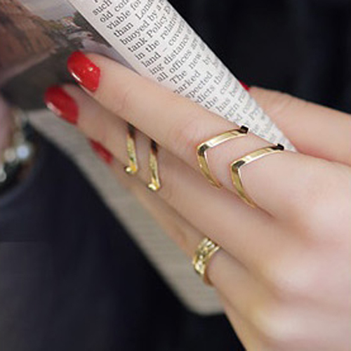 Hot Women Fashion Trendy Silvery/Golden Urban Punk Above Knuckle Anillos Band Mi