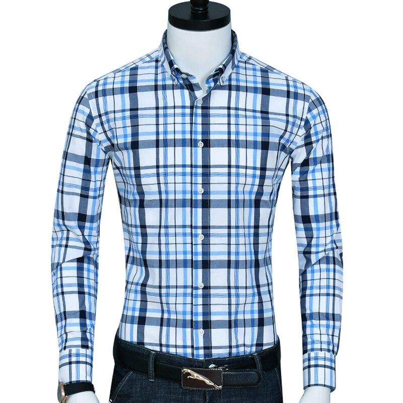 100% Reine Baumwolle Taste-unten Kragen Smart Casual Männer Shirts Mode Plaid Freizeit Männer Shirts Langarm Männer Überprüft Shirts Waren Des TäGlichen Bedarfs