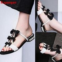 Open Toe Black White Color Women Slipper Brand Designer Runway Star Shoes Butterfly Knot Decor Crystal