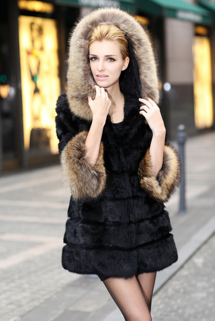 Real genuine natural full pelt whole skin rabbit fur coat with raccoon fur hood women fashion jacket custom any size