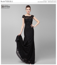 free shipping salomon formal dresses vestido de festa 2014 new fashionable hot black long dress party evening elegant