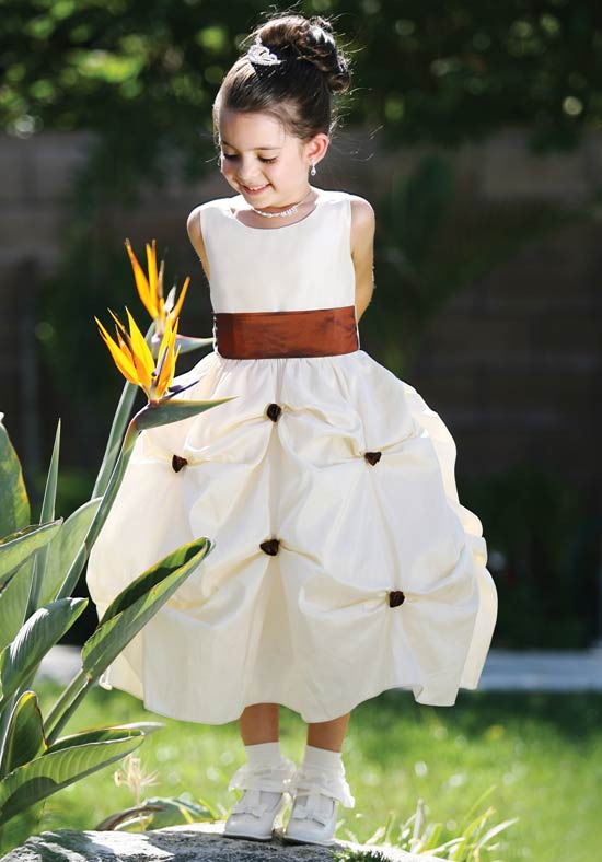 Ball Gown  Flower Girls Dresses For Wedding Gowns Satin  Girl Birthday Party Dress Mid-Calf Kids Prom Dresses