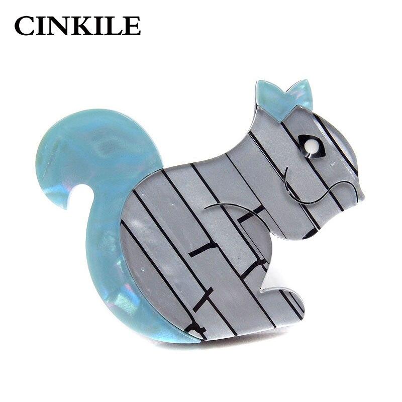Cinkile Mode Acryl Eekhoorn Broches Voor Vrouwen Acetaat Fiber Broche Pin Animal Sieraden Mode Broches Nieuwe Jaar Cadeau