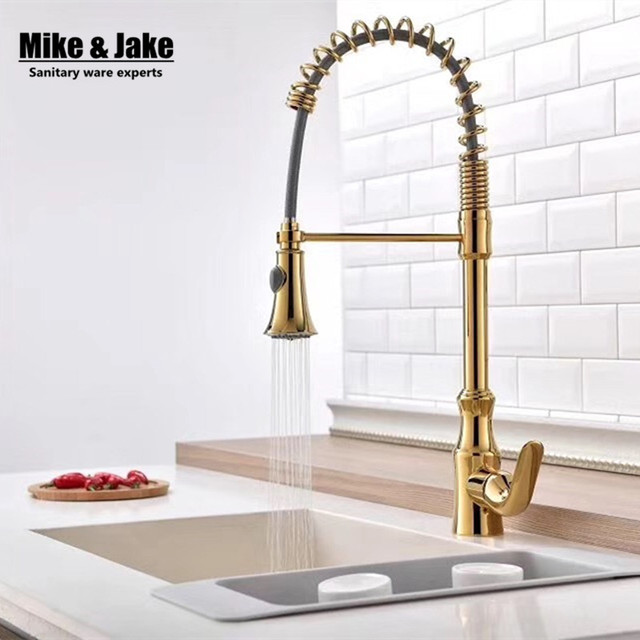 single handle gold kitchen faucet pull down kitchen mixer with spray sink mixer hot cold - Gold Kitchen Faucet