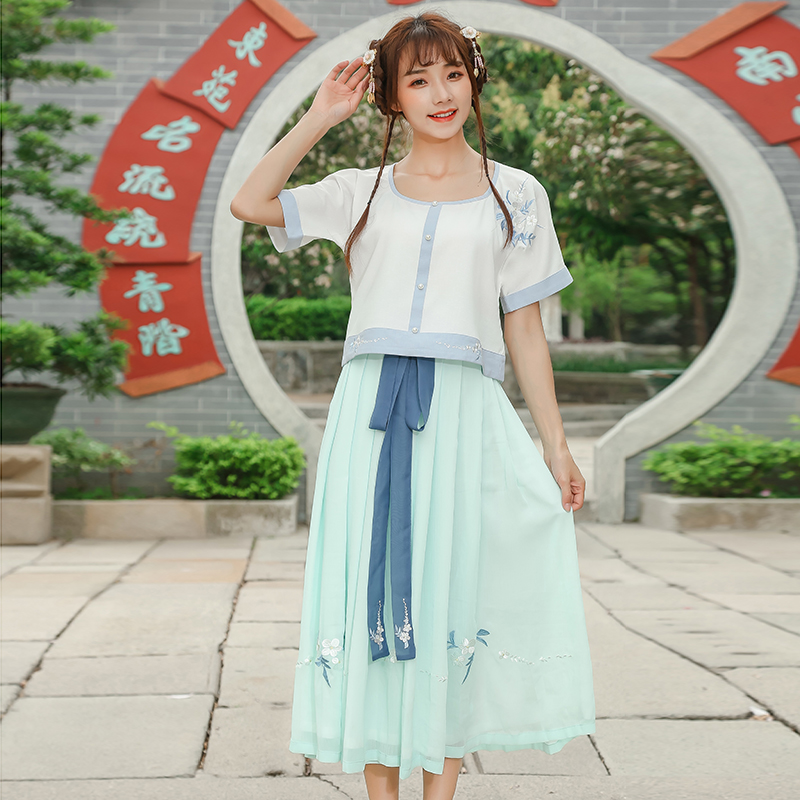 Summer Women Long dress O-Neck Han Daily Modified Hanfu Suits Embroidered Half Show Dres ...