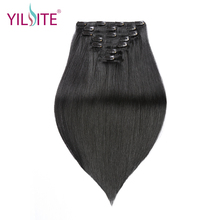 YILITE Brazilian Human Hair Clips in Hair Extensions 16inch, Straight Natural Black Remy Human Hair Clip-In Extensions 7Pcs/Set