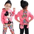 Девушки комплект одежды Весна Осень новорожденных девочек одежда набор с длинным рукавом дети толстовки + цветочные брюки 2 шт. дети спортивная костюм для 2-5 Т