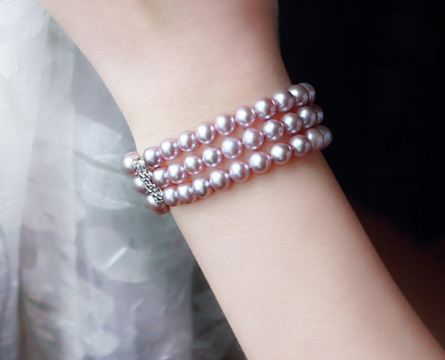 triple strands 7-8mm south sea round lavender pearl bracelet 7.5-8triple strands 7-8mm south sea round lavender pearl bracelet 7.5-8