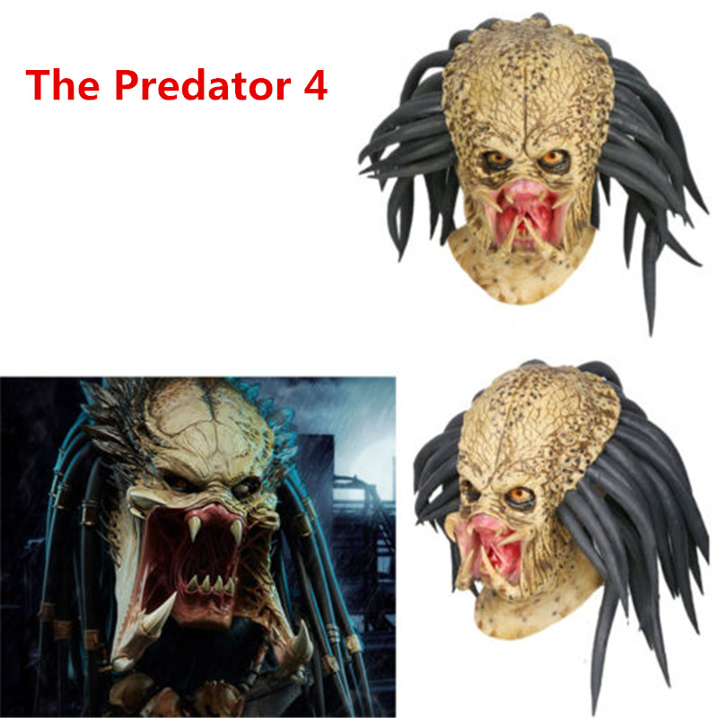 High Quality Movie The Predator Cosplay Mask Latex Helmet Props Antenna Horror Full Head Halloween Party Cosplay Mask Gifts Toys