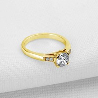 AINUOSHI Fashion Crose Gold Ring 10K Pure Yellow Gold Engagement Ring Trendy Fine Jewelry Sona Diamond Women Party Gift Bands