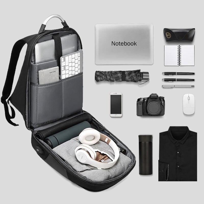 Sacs à dos d'ordinateur portable hommes USB charge à la mode affaires sac à dos hydrofuge grande capacité voyage sac à dos mâle mochila ML045 - 4