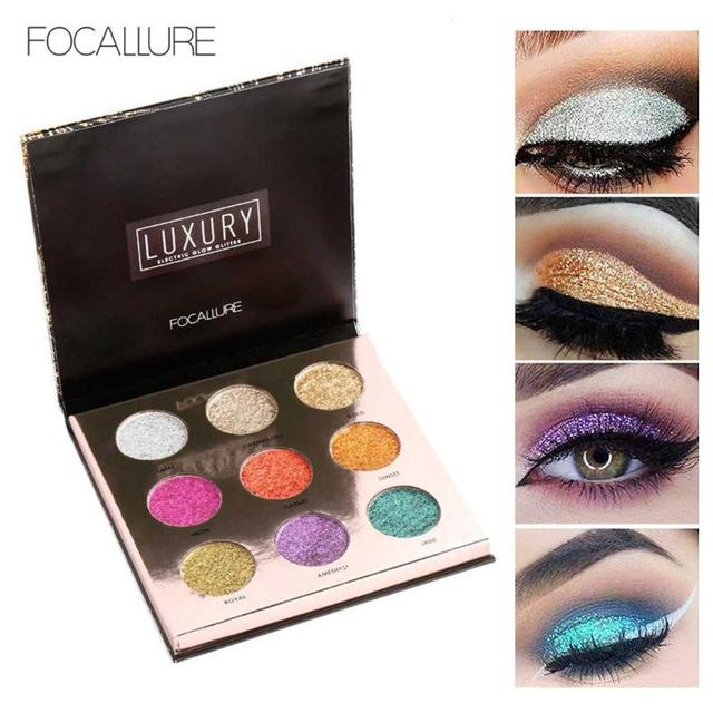 FOCALLURE 9 Colors Diamond Glitter Eyeshadow Palette Professional Pressed Glitter  Shimmer Makeup Eye shadow Palette Cosmetics Z3 d08679b39fa6