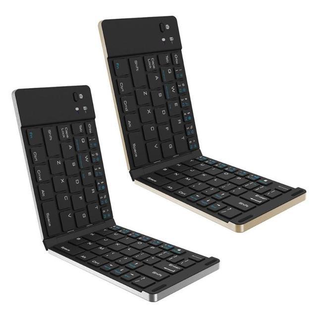 Aluminium Alloy Folding Bluetooth Keyboard Foldable Bluetooth 3.0 Wireless Keypad for iOS Android Windows Systems PC Tablet