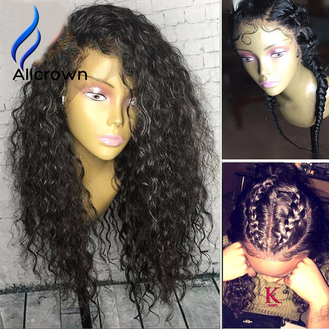 ALICROWN 150 Density Human Hair Full Lace Wigs Curly Lace Frontal Wig Kinky Curly Wigs For Black Women Brazilian Lace Front Wigs