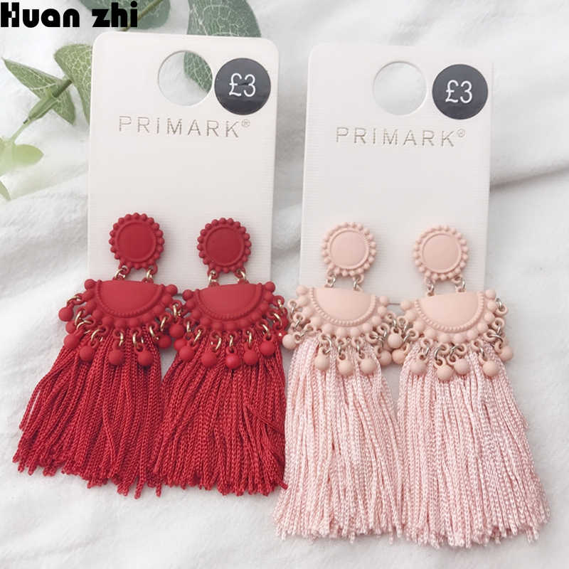 HUANZHI Bohemian Metal Spray Paint Big Long Tassel Drop Earrings For Women Lady Female Fringe Handmade Brincos Statement Jewelry