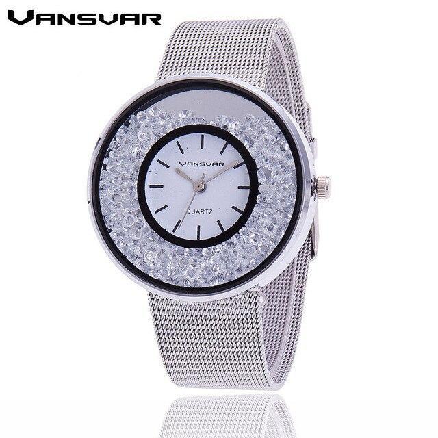 Hot Sale Fashion Stainless Steel Rose Gold & Silver Band Quartz Watch Luxury Women Rhinestone Watches Valentine Gift 2